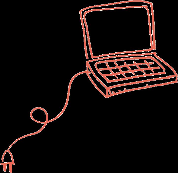 Kuvituskuvassa oranssilla kynällä piirretty tietokone