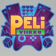 Peliviikon logo: videopeliohjain, pelikortteja, noppia ja peliviikko-teksti