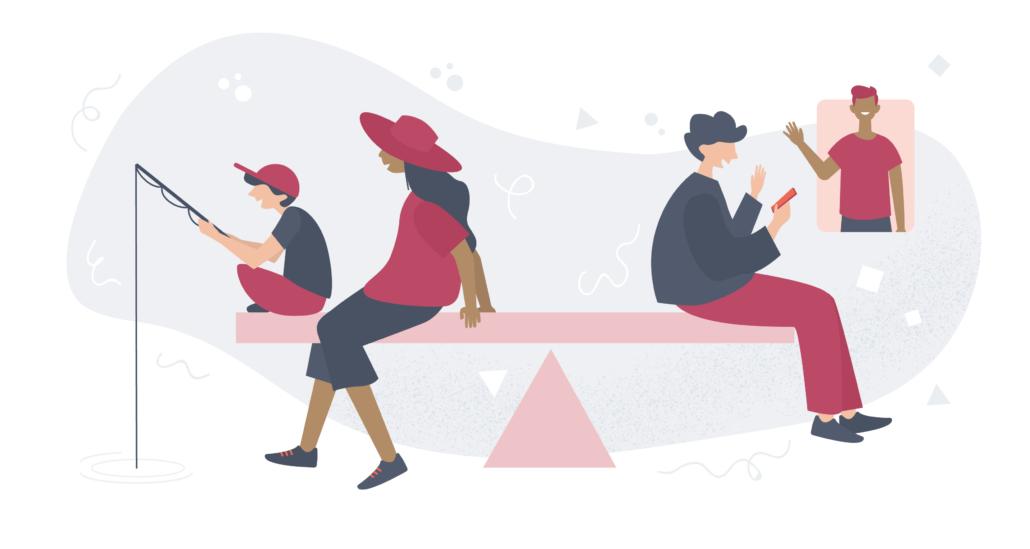 Vaakatasossa oleva tasapainolauta, jonka toisessa päässä äiti kalastaa lapsensa kanssa ja toisessa päässä nainen soittaa hymyillen videopuhelua ystävälleen.