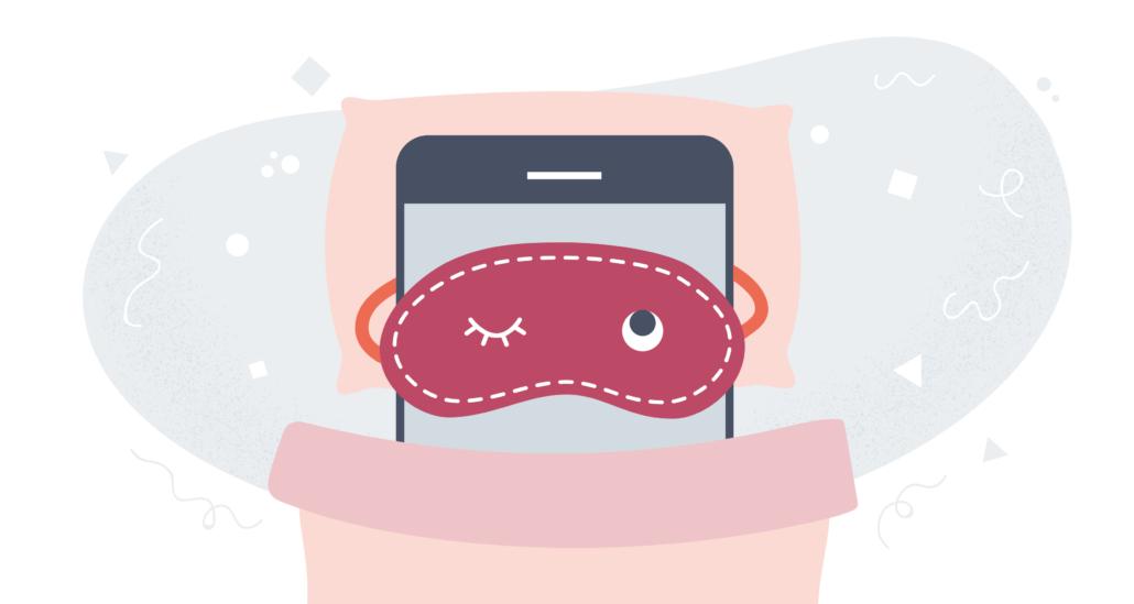 Piirretty älypuhelin nukkuu peiton alla toinen silmä raollaan.
