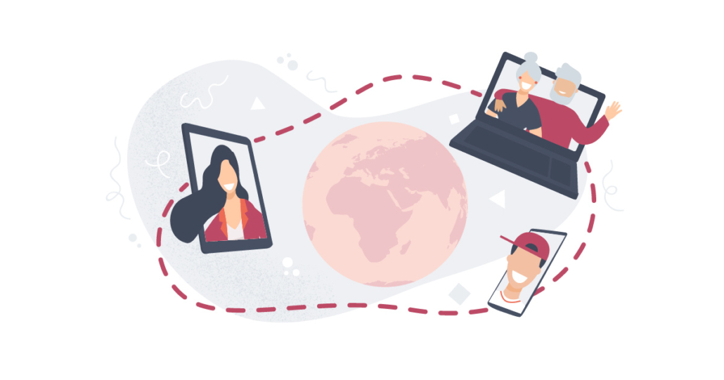 Maapallon ympärillä on eri ikäisiä ihmisiä tietokoneiden, tablettien ja kännykäiden ruuduilla. Kaikkia heitä ympäröi yhteinen kehä.