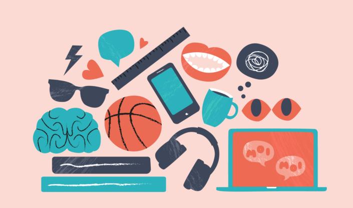 Koristeellinen: Piirroskuvia, jossa pikkukuvia digihyvinvointiin liittyviä kuvakkeita, kuten älypuhelin, kannettava tietokone, kuulokkeet, puhekupla ja sydän.