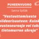 Kuvassa teksit: Puheenvuoro, Sanna Spišák ja jutun otsikko. Piirrettyä kuvituskuvaa, mm. digitaalisia laitteita. Lisäksi mediakasvatusseuran logo.