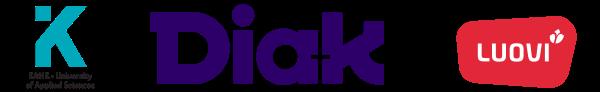 Kajaanin ammattikorkeakoulun, Diakonia-ammattikorkeakoulun ja Ammattiopisto Luovin logot