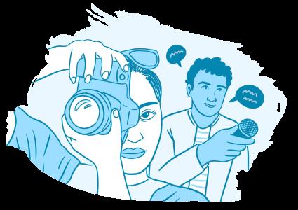 Piirros, jossa nuori ottaa kuvaa järjestelmäkameralla. Taustalla toinen nuori pitelee mikrofonia kädessään.