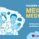 Kuvassa teksti: Muiden mediasta meidän mediaksi – Kulttuurisensitiivisen mediakasvatuksen opas. Lisäksi piirroskuva kahdesta ihmisestä, joista toinen kuvaa kameralla ja toinen pitelee mikkiä.